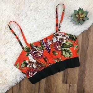 LF To Love Kuvaa Orange Floral Crop Top